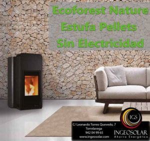 Estufa de Pellets Ecoforest Nature Sin Electricidad y Silenciosa
