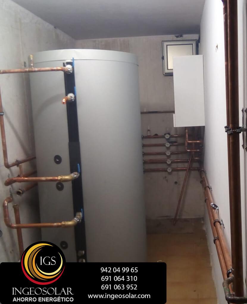 sala tecnica de aerotermia con acumulador ingeosolar